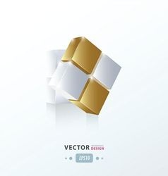 3d cube twist gold style vector