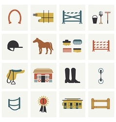 Set of horseback riding icons vector