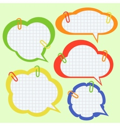 Set of paper speech bubbles vector