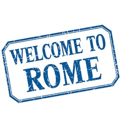 Rome - welcome blue vintage isolated label vector