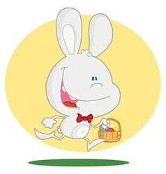 White bunny with an easter basket vector
