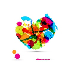 Abstract Colorful Heart Made From Splashes Blots vector image vector image