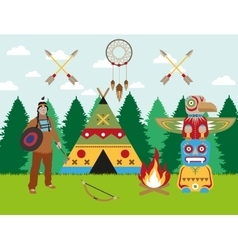 American indian landscape warrior wigwam and vector image