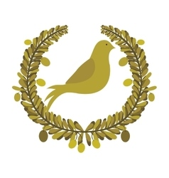 Arch of leaves with pigeon with olive branch vector
