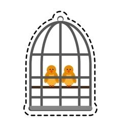 Birds in a cage vector