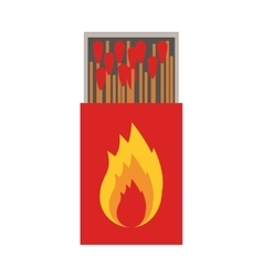 colorful silhouette of matchbox with logo flame vector image