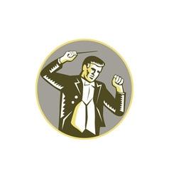Conductor waving baton circle woodcut vector