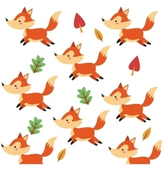Cute fox cartoon pattern background vector