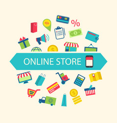 E-commerce shopping symbols vector