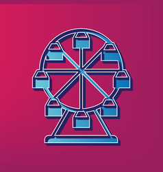 Ferris wheel sign blue 3d printed icon on vector