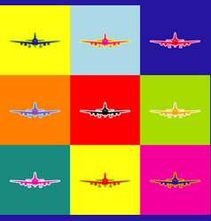 Flying plane sign front view pop-art vector