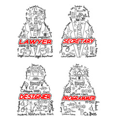 four professionals set vector image vector image