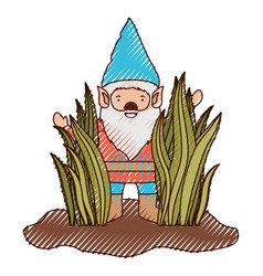 gnome coming out of the bushes in colored crayon vector image vector image