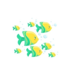 Green and yellow fantastic tropical fish school vector