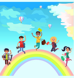 Happy jumping students on rainbow vector