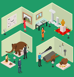 interior museum exhibits galleries isometric view vector image