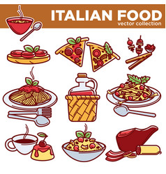 Italian food pizza pasta meat and dessert drink vector