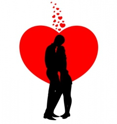 lovers and heart vector image vector image