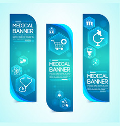 medical blue vertical banners set vector image vector image