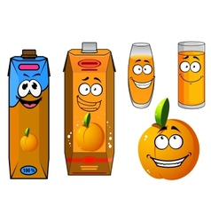 Orange juice and fruit cartoon icons vector image vector image