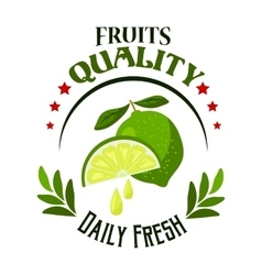 Organic shop or farm badge with fresh lime fruits vector