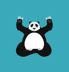 Panda yoga chinese bear yogi animal zen and relax vector