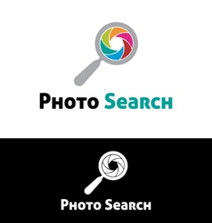 Photo search logo template vector image vector image