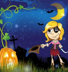 Pirate girl with jack o lantern vector
