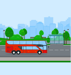 Red shuttle bus going on country road vector