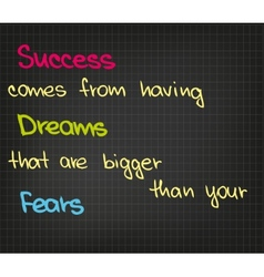 Success comes from having dream vector image
