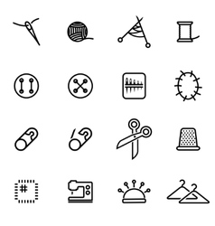 thin line icons - sewing vector image