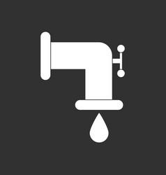 White icon on black background water pipe and drop vector