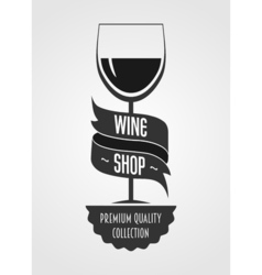 wine shop logo concept or template with glass with vector image vector image