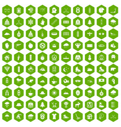 100 winter sport icons hexagon green vector