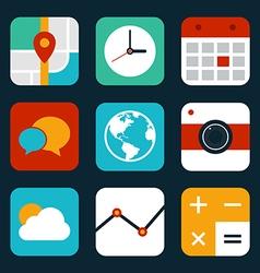 Mobile application icon set flat design vector image