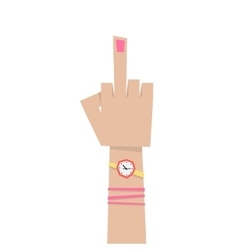 Young girl hand with middle finger vector