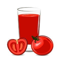 Fresh tomato and glass with juice vector image