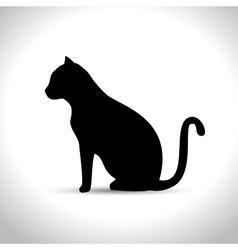 Silhouette sitting cat icon graphic vector