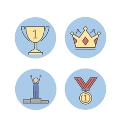 Business winner success icons vector