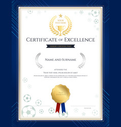 Portrait certificate of excellence template in vector