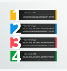 Four steps infographic banner in dark theme vector