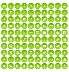 100 street food icons set green circle vector