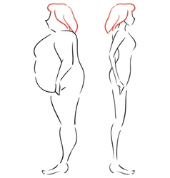 Fat and thin women vector