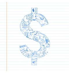 Business Dollar Doddle vector image