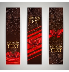 Set of banners with red bows and ribbons vector