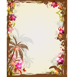 Tropical frame with palms and toucan vector