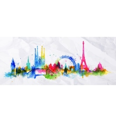 Silhouette overlay city paris vector