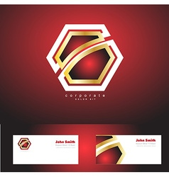 Red corporate hexagon badge gold logo vector