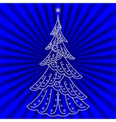Christmas firtree on blue vector