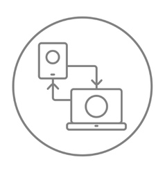 Synchronization smartphone with laptop line icon vector